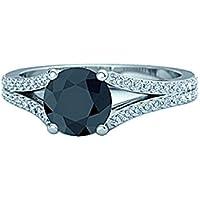 1,80carati bianco e nero diamante Split Shank Anello Di Fidanzamento