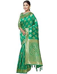 SareeShop Sarees Women's Green Color Cotton Silk Jacquard Saree With Blouse # 591F9AC2377660C4