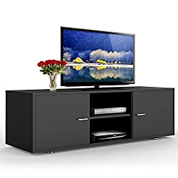 Yaheetech Eco-friendly MDF TV Cabinet LCD Unit Stand,Black With 2 Cabinet Plus A 2-Tier Shelf,120cm Unit