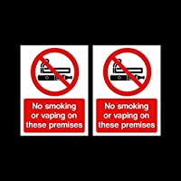 USSP&S 2x No Smoking or Vaping on these premises Sticker Sign 75x100mm - Bar, Pub, Business, Café