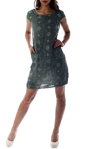 CHARIS MODA Leinen Kleid Grafisches Muster 1/4 Arm mit Taschen (L/38, Olive Gruen) (Mit 0,25)