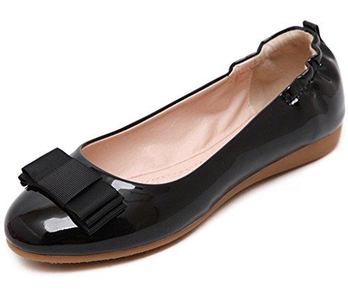 Minetom Femmes Élégant Chaussures Omelette Chaussures Avec Bowknot Talon Plat Orteil Fermé Ballerines Chaussons