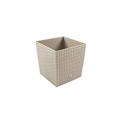 32L Blumentopf Rattan-Optik Pflanzkübel inkl. Einsatz quadratisch Kunststoff H 32,5 cm mocca