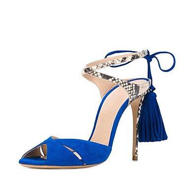 LQXZM Les femmes Sandales D'Orsay en simili cuir deux pièces Summer Party &AMP; tenue de soirée d'Orsay Deux-pièces Animal Tassel Stiletto HeelBlue Blue