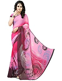 Gaurangi Creation Women's Printed Georgette Casual Wear Saree(mmk404_Pink And Purple_free Size)