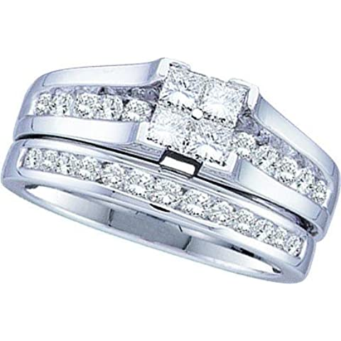 14 kt oro bianco 1,00 DWT diamante Invisible Set Bridal Wedding Ring