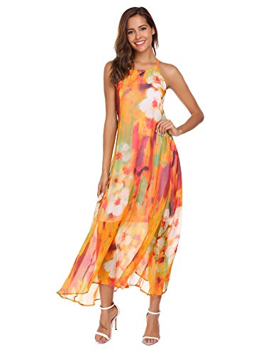 45aa1214253348 *Sommerkleid Damen Ärmellos Strandkleider Boho Blumen Kleider Lang Maxikleid  Cocktail Beachwear. bei Amazon*