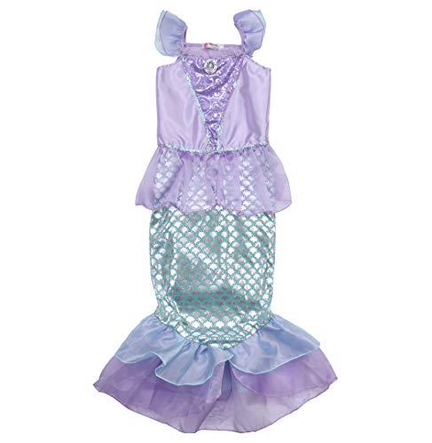 iYep Mädchen Prinzessin Meerjungfrau Kostüme Kleider Pailletten Märchen Cosplay Fancy Party Dress (Violet, 5-6T)