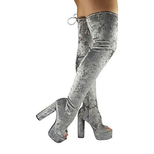Miss Image Uk Femmes Plate-forme À Talons Hauts Sur Le Genou Haute, Open Toe Open Toe Boots Chaussures Nombre Gris Velours Ridée