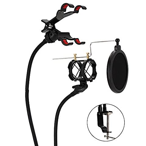 XIAOKOA Mikrofonständer Telefonhalter Desktop Mic Halter Tisch Schockhalterung für Internet Karaoke / Telefon Karaoke / MV Aufnahme