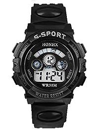 Malloom® moda impermeable Niños Niñas natación deportes silicona digital reloj de pulsera (Negro)