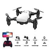 ZLC Drone à Quatre Axes, Photographie aérienne Grand Angle 200w, Transmission vidéo en Temps réel avec gestes, Mini-Avion Rabattable au décollage et à l'atterrissage à Une Touche,White