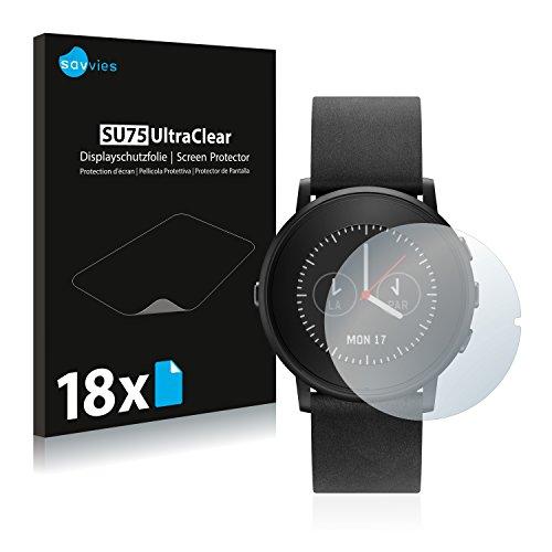 Savvies Schutzfolie kompatibel mit Pebble Time Ro& (18 Stück) - ultraklare Bildschirmschutz-Folie