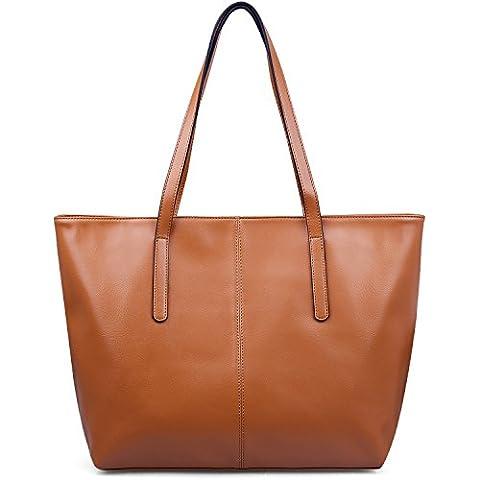 Jack&Chris Genuine Leather Designer Handbags Work Tote Shoulder Bags for Women,WBDZ038 (Khaki)