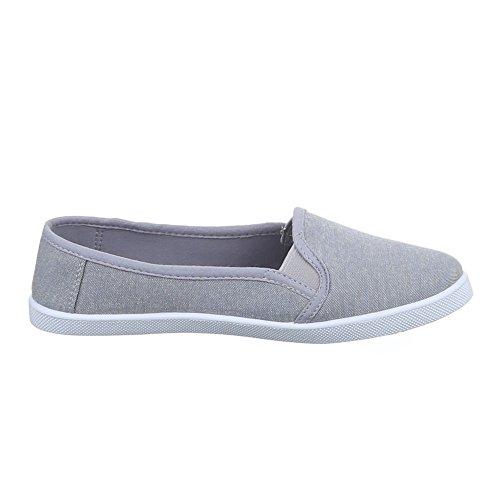 Damen Schuhe, C27-8, HALBSCHUHE SLIPPER FREIZEITSCHUHE Grau