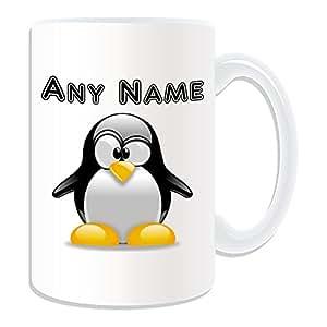 Cadeau personnalisé–Grand mug Pingouin (Design Animal Thème, blanc)–N'importe Quel Nom/Message sur votre unique Croix–EYE