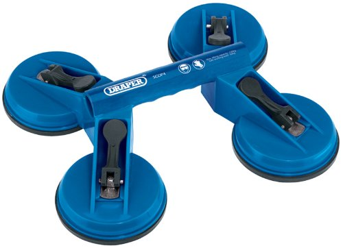 Preisvergleich Produktbild QUAD SUCTION LIFTER - For the easy lifting of smooth flat surface materials, i.e. glass, marble etc. Manufactured from tough plastic with rubber suction cups. Suction cups 118mm diameter. Maximum lift 80kg; safe working load (S.W.L.) 40kg. Display carton. by DRS TOOLS