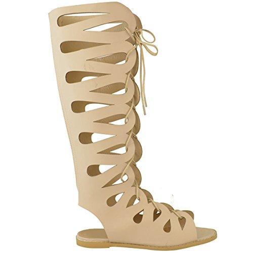 Scarpe Basse Da Donna Al Ginocchio Gladiatore Sandali Con Cinturino Con Lacci Taglia Scarpe Estative Pelle Simil Pelle
