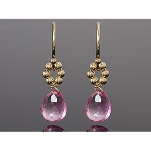 Rosa Topas und Kugeln Ohrringe Sterlingsilber oder Gold Filled