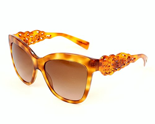 Dolce & Gabbana Damen DG4264 Spain in Sicily Collection Sonnenbrille, Braun (Blonde Havana 512/13), One size (Herstellergröße: 55)