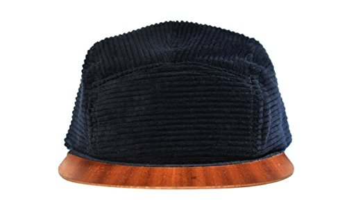 Cap Herren Cord schwarz feinste Baumwolle mit edlem Holzschirm - Made in Germany - Unisex Kappe - Sehr leicht & bequem - Snapback One size fits all | Lou-i Sonnenhut (Baumwolle Kappe Cord)