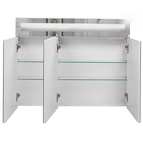 Badspiegelschrank beleuchtet BF01W90, 3-türig, 90x65x15cm, Weiss, inkl. Leuchtmittel - 4