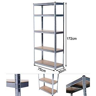 Grafner Schwerlastregal 5 Ebenen Werkstattregal 1,72m Kellerregal Steckregal bis 375 kg