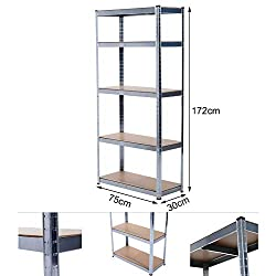 Grafner® Schwerlastregal 5 Ebenen Werkstattregal 1,72m Kellerregal Steckregal bis 375 kg