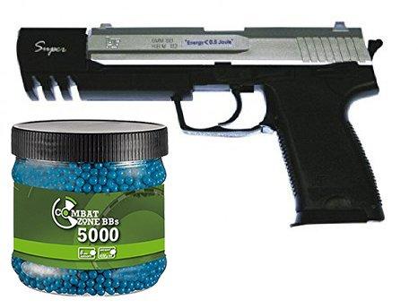 g8ds Set Sport Softair Pistole High Silver-Blackline 112 24 cm unter 0,5 Joule 6mm Waffe ab 14 Jahren freigegeben 7139 + Umarex Combat Zone Softairkugeln blau 6mm 0,12g 5000 BBS