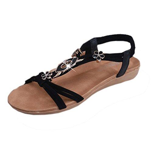 Transer ® Womens plat perles Bohême sandales Peep-Toe sandales doux Noir