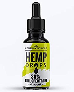 Hemp Oil Drops 30% 3000mg 10ml Amber Hemp Drops | Raw Natural Ingredients | Vegan Friendly (3000mg)