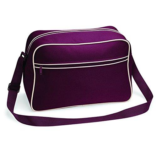 One-shoulder-star (BagBase Retro Shoulder Bag, Burgundy / Sand, ca. 40 x 28 x 18 cm)