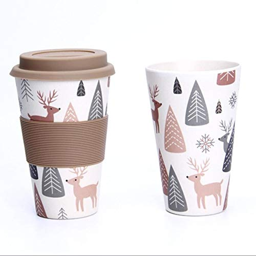 XYao Kaffee-Tasse Reisebecher 400ml Portable Practical Reusable Eco Friendly Non-Slip Printing  Fawn -