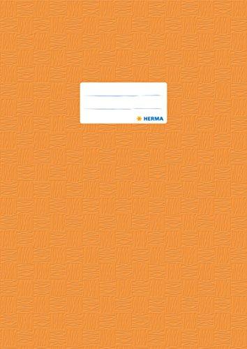 Herma 7444 Heftumschlag DIN A4, Kunststoff, orange, gedeckt mit Baststruktur, 1 Heftschoner für Schulhefte