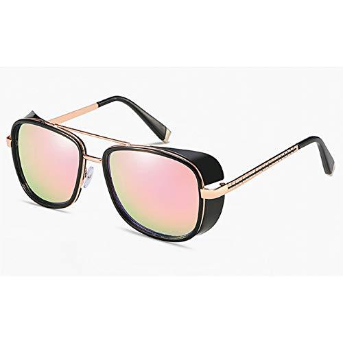 Taiyangcheng Sonnenbrille Männer gespiegelt Frauen Brille Vintage rote Linse,Rosa