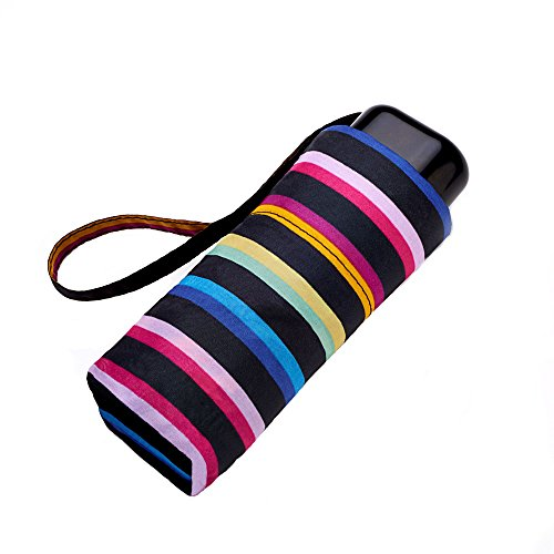 Mini paraguas plano con rayas arcoiris.