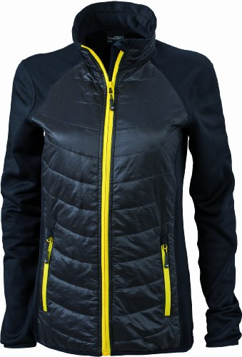 James & Nicholson Damen Jacke Jacke Stretchfleece Ladies' Hybrid Jacket schwarz (black/black/yellow) X-Large
