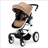 QZX Faltbarer Kinderwagen 2 in 1 Kinderwagen Reisesystem Kinderwagen mit Wendebettwagen Gültig für Alter 1-3 Jahre, 6-12 Monate, 0-6 Monate - Grau
