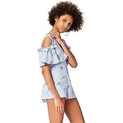 find. Vestido Camisero con Estampado de Rayas y Volantes para Mujer , Azul (Blue Stripe Floral), 46 (Talla del Fabricante: XX-Large)
