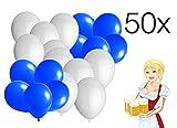 TK Gruppe Timo Klingler 50x Luftballons Ballons für Helium und Luft, blau weiß Weiss Oktoberfest Dekoration Deko Wiesn