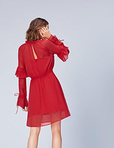 FIND Damen Langärmeliges Spitzenkleid mit Volants Rot