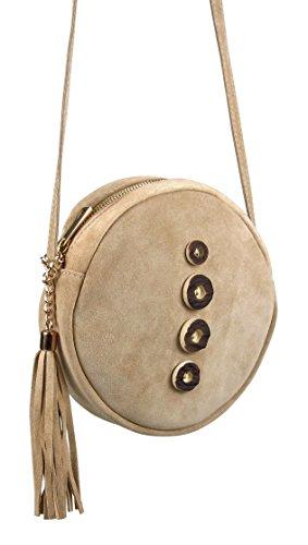 Echt Leder Umhängetasche mit Hirschhornknöpfen - edel und hochwertig gefertigt - handgemacht, ca. 20cm Durchmesser (beige)