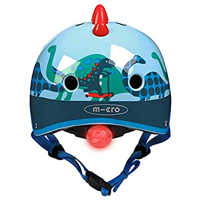 Micro Childrens Deluxe Safety Helmet 3D Scootersaurus Dinosaur Boy Girl Scooting Bike Small 48-52Cm Rear Light No Pinch from Micro