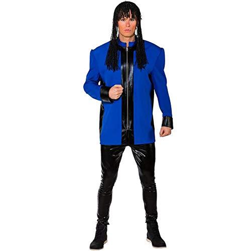 Unbekannt Herren Kostüm Musiker Jacke mit Schulterpolster blau oder rot Gr. 46-56 Show-Kostüm 80er 90er Karneval (54/56, blau) (Michael Jackson Jacke Rot Kostüm)