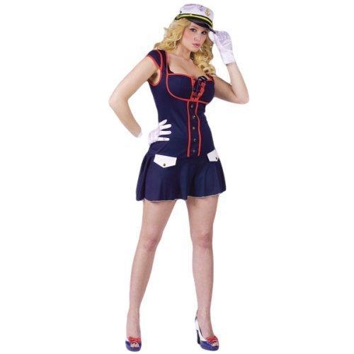 Damen Sexy Major Reizen Marine Seemann Militär Uniform Kostüm Kleid Outfit - Blau, 10-12 (Seemann Marine Sexy)