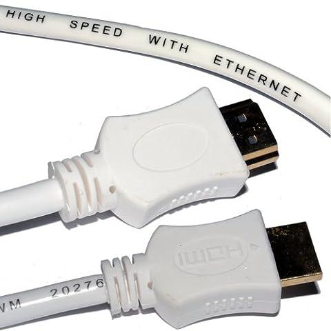 M-one Blanc 1m/0,9m de long Fil de câble HDMI vers HDMI plomb pour–Sony Bdp-s4500/Blu-ray Disc Player–pour connecter TV, moniteur, Vidéoprojecteur