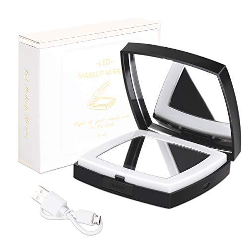 Ragbarer Taschenspiegel Zweiseitiger Kosmetikspiegel mit 1X / 10X VergrößErung, USB...