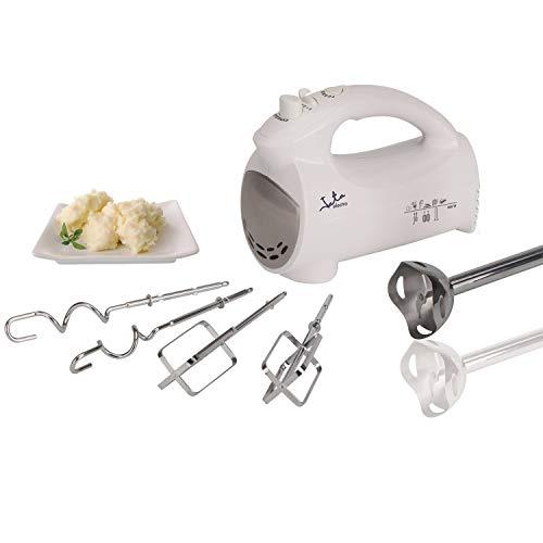 Jata BT575 Batidora mezcladora, 5 accesorios: 2 espirales para amasar, 2 varillas para mezclar y brazo...