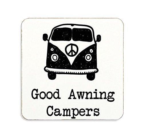 """""""Good Awning Campers"""" Kork-Untersetzer in schwarz, Geschenk, Camping, Wohnwagen"""