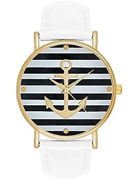 Damenuhr Maritim Segler Farbe: Weiß Gold Style: Anker Matrosen Sailor Matrosenstreifen Matrosenkostüm Streifen...